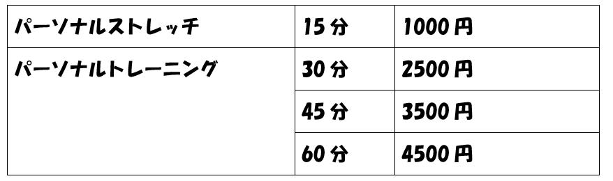 パーソナル料金表